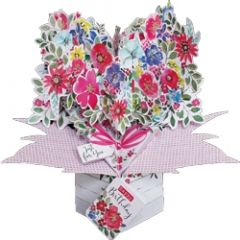 3D verjaardagskaart - pop ups - just for you happy birthday - bloemen