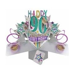 90 jaar - 3D kaart - pop ups - happy 90th birthday