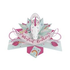 3D verjaardagskaart - pop ups - have a magical birthday - eenhoorn