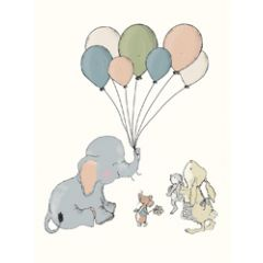 poster a4 mouse and pen  - olifant met ballonnen