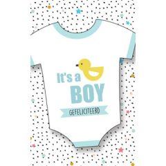 geboortekaart - it's a boy - gefeliciteerd - rompertje