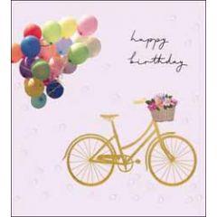 verjaardagskaart the proper mail company - happy birthday - fiets met ballonnnen