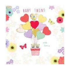 geboortekaart - een tweeling - 2 beertjes met hartjesballonnen