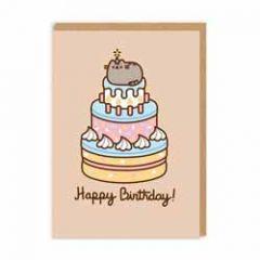 wenskaart pusheen - happy birthday - taart