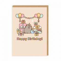 wenskaart pusheen - happy birthday! - cadeautjes, ballonnen en slinger