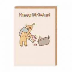 wenskaart pusheen - Happy birthday! - Sloth met taart