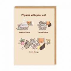 wenskaart pusheen - physics with your cat