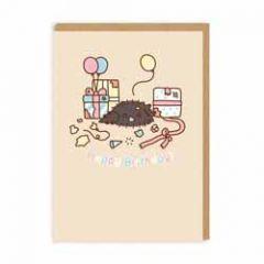 wenskaart pusheen - happy birthday - kat met cadeautjes en ballonnen