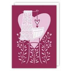 lasergesneden geboortekaartje - wieg roze
