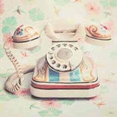 retro wenskaart busquets - oude telefoon