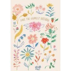 verjaardagskaart roger la borde -  have the happiest birthday - bloemen