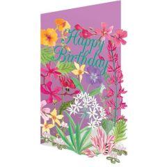 laser gesneden verjaardagskaart roger la borde - happy birthday - bloemen roze