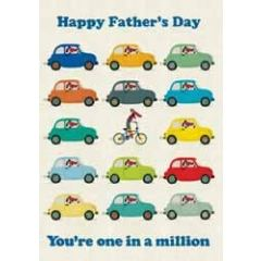 vaderdagskaart roger la borde -  happy father s day - you are one in a million - auto en fiets