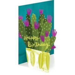 laser gesneden verjaardagskaart roger la borde - happy birthday - cactus in bloempot