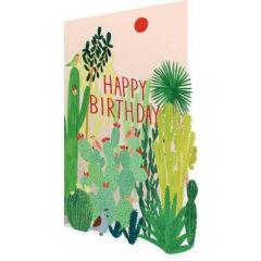 laser gesneden verjaardagskaart roger la borde - happy birthday - cactussen
