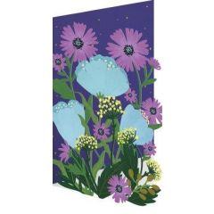 laser gesneden bloemenkaart roger la borde - paarse en blauwe bloemen
