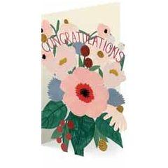 lasergesneden wenskaart roger la borde -  congratulations - bloemen