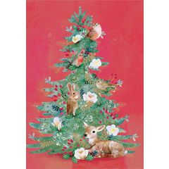 kerstkaart roger la borde - dieren in kerstboom