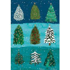 kerstkaart roger la borde - kerstbomen