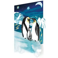 laser gesneden kerstkaart roger la borde - pinguins