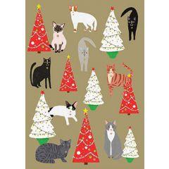 kerstkaart roger la borde - katten en kerstbomen