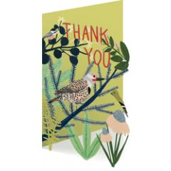 lasergesneden bedankkaart roger la borde -  thank you - vogels