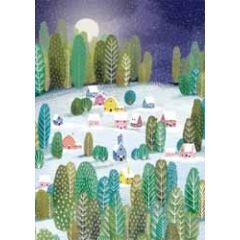kerstkaart roger la borde - dorp in de sneeuw