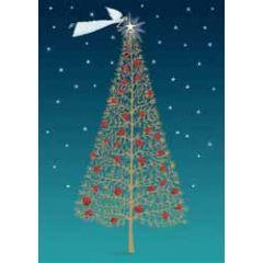 kerstkaart roger la borde - kerstboom en engel