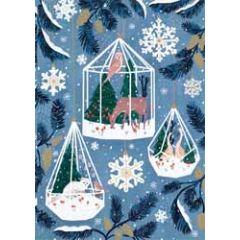 kerstkaart roger la borde - dieren in de sneeuw