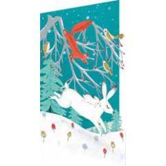 laser gesneden kerstkaart roger la borde - dieren in de sneeuw