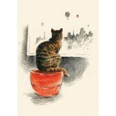 wenskaart roger la borde - kat voor raam