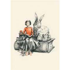 wenskaart roger la borde - alice en konijn