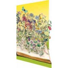 lasergesneden wenskaart roger la borde -  boek met bloemen