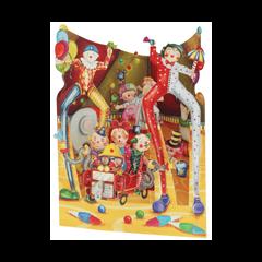 3D kaart - swing cards - big top clowns