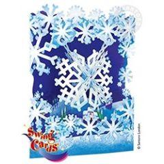 3D kaart - swing cards - sneeuwvlokken