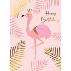 wenskaart second nature - happy birthday - flamingo