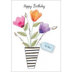 wenskaart second nature - happy birthday - vaas met bloemen