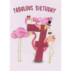 7 jaar - verjaardagskaart - fabulous birthday - flamingo