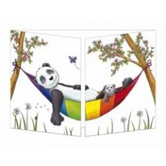 uitklapbare kaart cache-cache - panda in hangmat