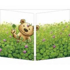 uitklapbare kaart cache-cache - beer met klavertje vier