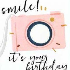 verjaardagskaart caroline gardner - screenprint - smile it is you birthday - camera
