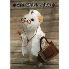 santoro tiny squee mousies wenskaart  - get well soon