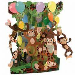 3D kaart - swing cards - aapjes met ballonnen