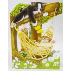 3D kaart - swing cards - katten in hangmat