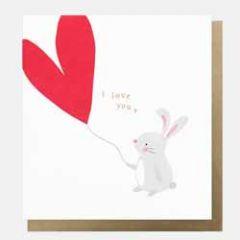 wenskaart caroline gardner - i love you - konijntje met hartballon
