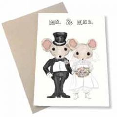 trouwkaart mouse & pen - mr. & mrs. - muizen