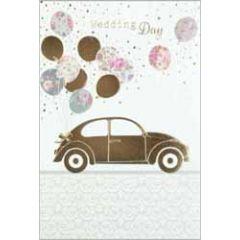 trouwkaart busquets - wedding day - auto met ballonnen
