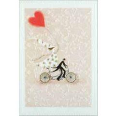 trouwkaart busquets - bruidspaar op fiets