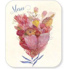 ansichtkaart met envelop - tv kaart - merci - bloemen