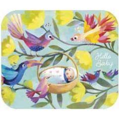 ansichtkaart met envelop - tv kaart - hello baby - vogels